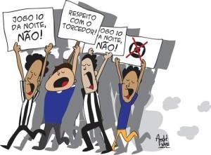"""Charge de André Fidusi publicada na página do Facebook da campanha """"Jogo 10 da Noite, NÃO"""""""