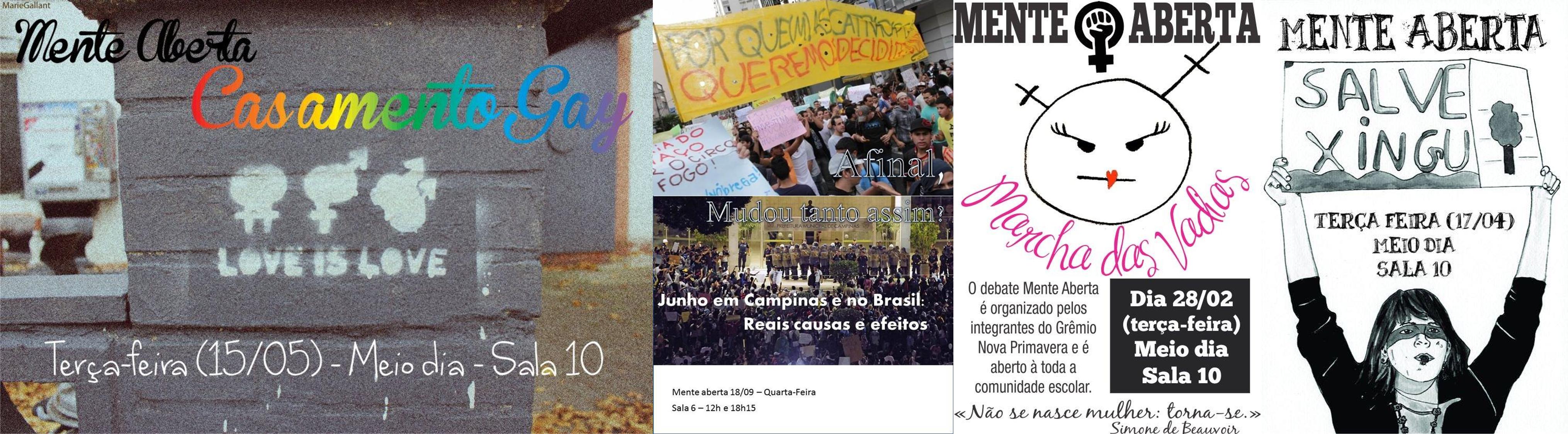 Imagens de divulgação de alguns encontros do Mente Aberta entre 2012 e 2013.